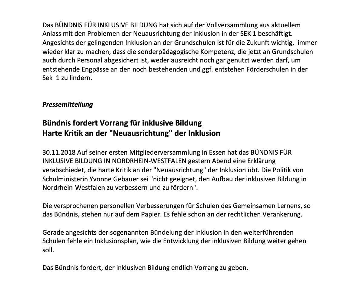 Pressemitteilung Bündnis für inklusive Bildung